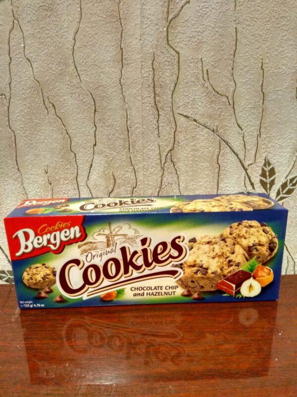 Овсяное печенье Bergen с кусочками шоколада и ореха 125 г
