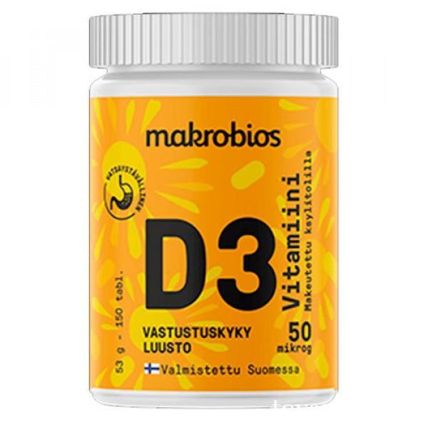 Витамин D3 50 мкг 150 таблеток Makrobios