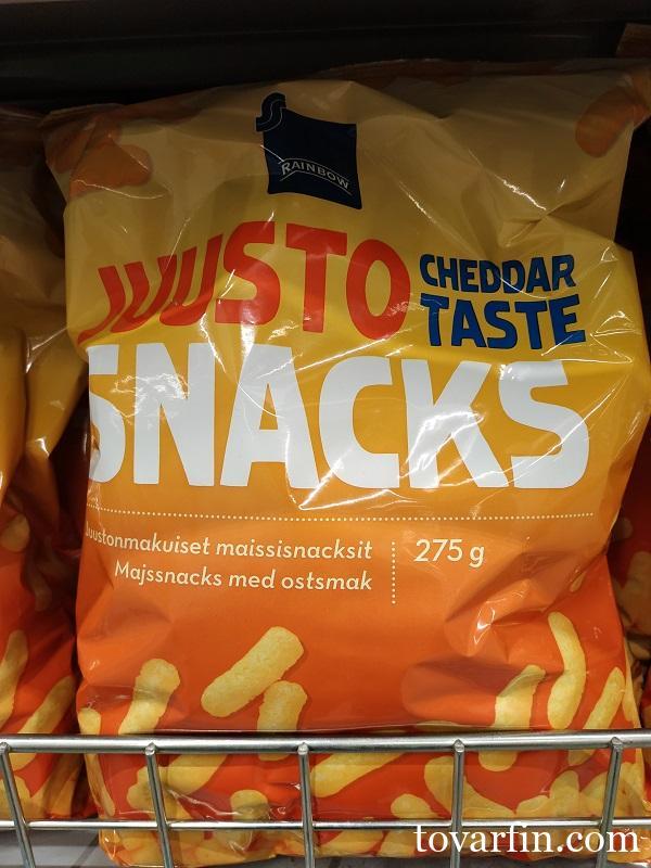Кукурузные палочки со вкусом сыра Juusto Snaks 275гр Rainbow