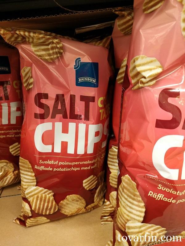Рифлёные картофельные чипсы с солью 300гр Rainbow