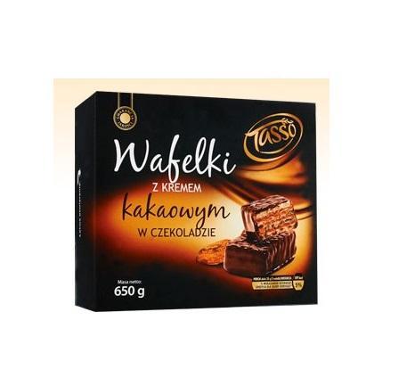 Вафли Tasso wafelki с какао - кремом в шоколаде 600g Польша