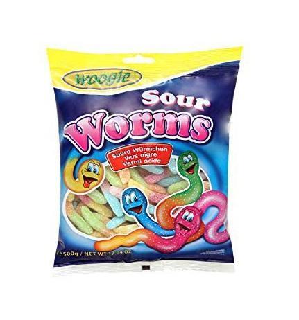 Жевательные конфеты Кислые червячки Woogie 250г